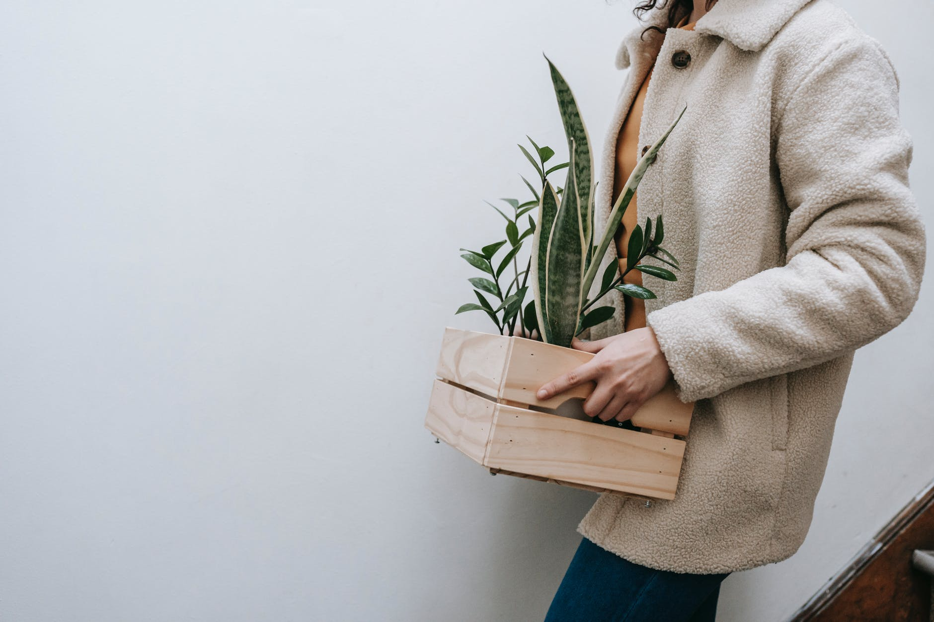 woman carrying a small crate with plants